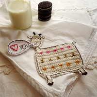 Personalized Crochet Goat Coaster for short text or name 1pc
