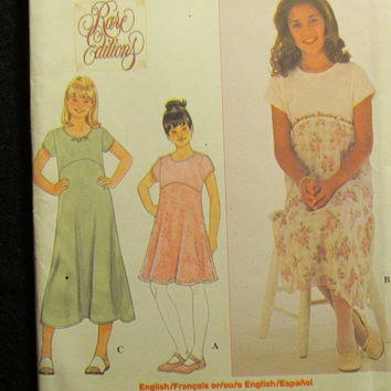 Sale Uncut Simplicity Sewing Pattern, 8593! 12-14 Girls/Pre-Teen/Rare Edition/Raised Waist Dresses/Short Sleeve/Formal/Casual/Summer/Spring