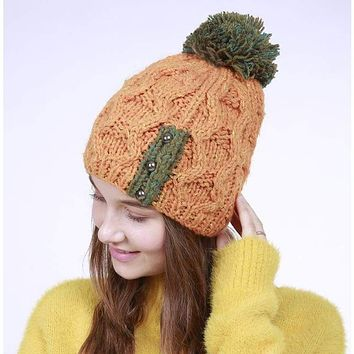 Handmade Autumn Winter Knitted with Buttons Women Hat