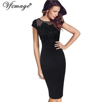 Vfemage Women Sexy Elegant Floral Crochet Lace Ruched Party Evening Sheath Special Occasion Bridemaid Mother of Bride Dress 3197