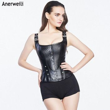 Black Brocade Leather Goth Steampunk Corset Plus Size Overbust Corsets And Bustiers