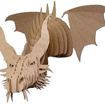 Cardboard Safari Recycled Cardboard Animal Taxidermy Dragon Trophy Head, Nikita Brown Small