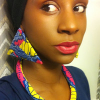 Pink Blue yellow Ankara Dutch wax African print Vlisco kitenge chitenge fabric rope bib tribal statement necklace