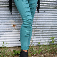 Manhattan Skyline Green High Waisted Distressed Denim Legging