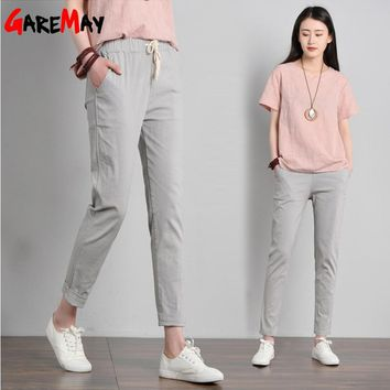 Garemay Cotton Linen Pants for Women Trousers Loose Casual Solid Color Women Harem Pants Plus Size Capri Women's Summer