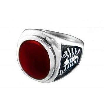 925 Sterling Silver Men's Oval Carnelian Engraved Scorpion Ring
