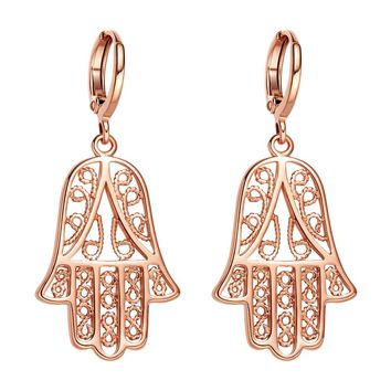 Beautiful Cute Evil Eye Protection Reflection Hamsa Amulets Gold-Tone Filigree Style Earrings
