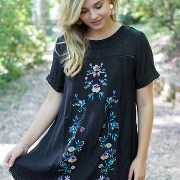 Mana Embroidered Dress, Black