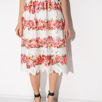 Floral Lace Embroidered Midi Skirt