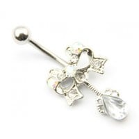 Surgical Steel 14g Clear Crystal Tear Drop Dangle Navel Ring Belly Bar Button Piercing Kit 14g