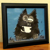 Funny Owl Painting Whimsical Painting Artwork 12 x 9 by andralynn