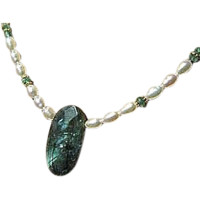 Labradorite necklace, white Pearl necklace, Apatite, Camp Sundance, Gem Bliss