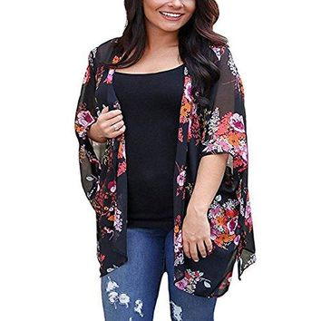 BOSSAND Womens Floral Print Loose Puff Sleeve Kimono Cardigan Lace Patchwork Cover up Blouse