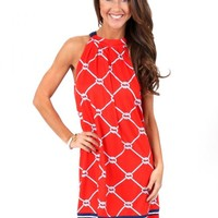 Red And Navy Tied Together With A Smile Dress | Monday Dress Boutique