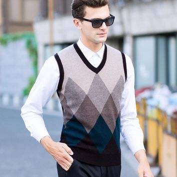 Winter Men's Sweater Pure Sheep Slim Knitted Vest Thicker Youth Casual Vest