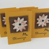 Blessings Note Cards - Set of 4 Small Cards - Small Blank Note Cards - Rich Gold Color - Handmade Flower - Burlap Accent