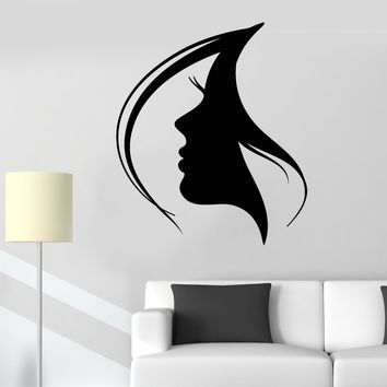 Vinyl Wall Decal Woman Face Silhouette Girl Head Hairstyle Stickers (2117ig)