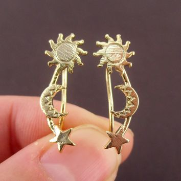 Space Inspired Sun Moon and Stars Shaped Drop Hook Stud Earrings