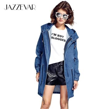 JAZZEVAR Autumn Winter High Fashion Street Cotton Demin Hooded Trench for woman 2017 Casual Washed Outerwear Loose Clothing