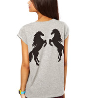 Horse Printed Back Grey T-shirt