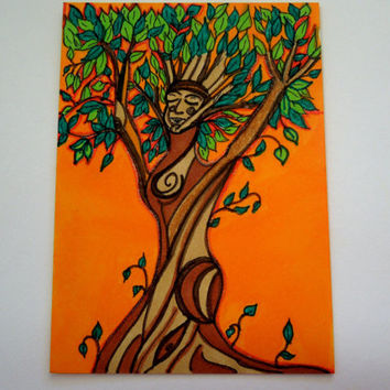 Sunset Dryad ACEO Original Artist Trading Card SFA