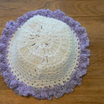 Hand Crocheted White and Lavendar Ruffled Baby Hat | hollyknittercreations - Children's on ArtFire