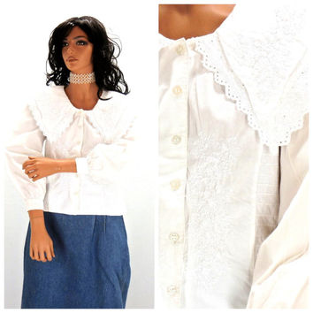 Vintage Victorian peasant blouse, size M, 1980s Edwardian white cotton embroidered beaded blouse, cottage chic blouse, SunnyBohoVintage