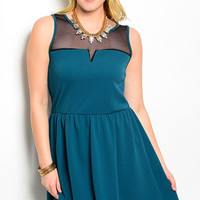 Plus Size - Dress - Pleated w/ Sheer Accent - Turquoise