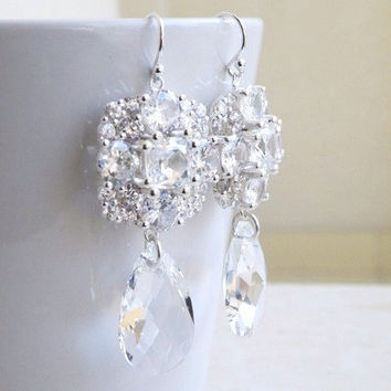 Bridal Earrings Ivanka Trump Swarovski Crystal Teardrop CZ Sterling Silver Chandelier Earrings - Itzel E5SWC Wedding Jewelry