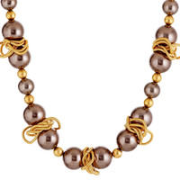 "15""Gold Chain & Cocoa Pearl Necklace, Pendant Necklaces"