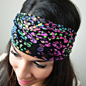 Colorful Spotted Stretch headband, Spotted head wrap