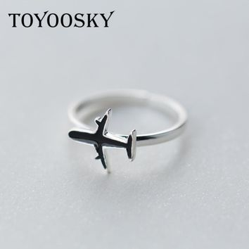 TOYOOSKY s925 Sterling Silver Simple Black Color Airplane Ring Jewelry Opening Adjustable for Women Gifts Gift Finger Rings