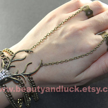 Steampunk style, ring and bracelets-antique bronze deer bracelet,elk bracelet