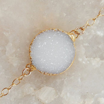 White Druzy Bracelet 14K Gold Snow Circle Round Drusy Crystal Quartz - Free Shipping Jewelry