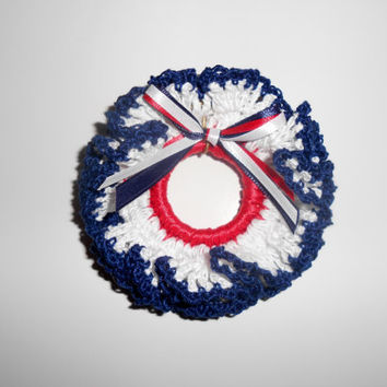 Patriotic Lapel Pin, Christmas Ornament, Decorative Crochet Wreath, Red, White, Blue