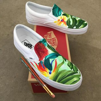 Custom Painted Tropical Slip On Vans