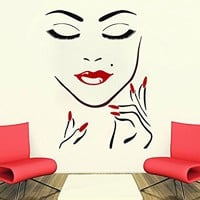 Wall Decals Beauty Salon Girl Face Hand Manicure Nail Lips Long Lashes Closeup Makeup Decal Vinyl Sticker Beauty Salon Home Decor MS747