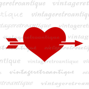 Printable Heart with Arrow Graphic Image Digital Download Illustration Vintage Clip Art for Transfers Making Prints etc HQ 300dpi No.4002