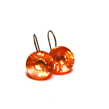 "Tangerine Drop Earrings, Neon Orange Nickel Free Plastic Dangle Earrings, Translucent Jewelry, Reflective Hanging Hooks - ""Spark to Fire"""
