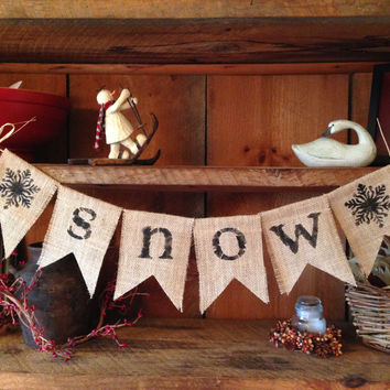 Snow Bunting, Winter Bunting, Holiday Garland, Christmas Bunting, Burlap Bunting