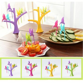 Birdie Fruit Fork Birds On The Tree Dessert Cake Dinnerware Party Cocktail quality first