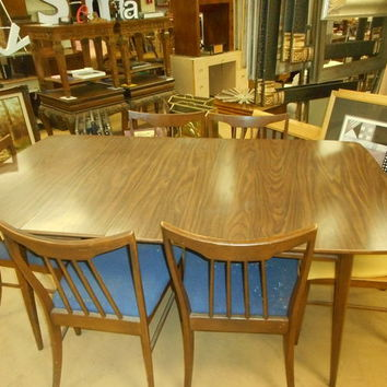 Mid Century Wood Grain drop down table 6 chairs +