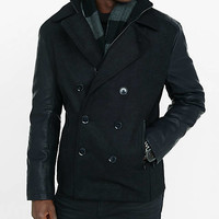 Peacoat With (minus The) Leather Sleeves from EXPRESS
