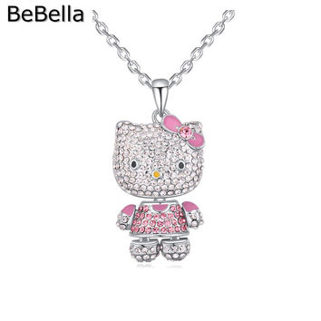 Sweety cat  crystal pendant necklace for girls made with Czech crystal for Mother's Day gift