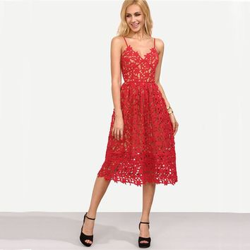 Fit & Flare Lace Cami Going Out Wedding Midi Dress