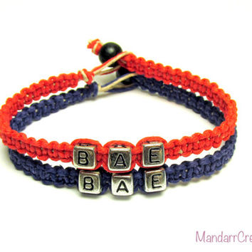 Jewelry for Couples or Best Friends, BAE Before Anyone Else, Navy Blue and Red Hemp Bracelets, Set of Two