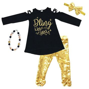 Bling In The New Year Outfit Gold Sequin Black Top And Pants
