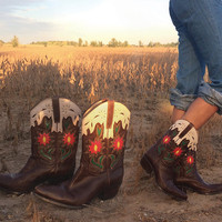 Vintage WESTERN Chocolate Brown Floral Cut Out Western Boho Cowboy Cowgirl Boots || Size 8.5 Size 9