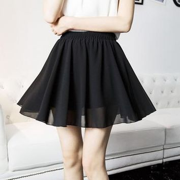 Black Shiffon Mini Skirt-JW-HB