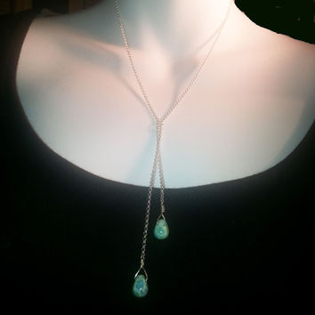 Turquoise and Silver Lariat Necklace, Y Shape, Southwestern Look, Layering Jewelry, Gift for Her, December Birthstone, Sterling Silver Chain